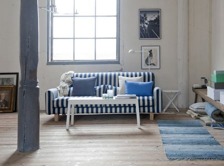 Bemz cover for Nikkala  sofa in Deep Navy Blue & Sand Beige Stockholm Stripe, with cushion covers in True Blue Panama Cotton, Unbleached Linen Belgian Linen Blend, Dark Denim Blue Piper Twill