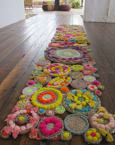 Rope and PomPom rug via Apartment Therapy