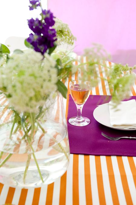 Bemz fabric per meter in Mandarin Orange Gotland Stripe and Fuchsia Panama Cotton (placemats)