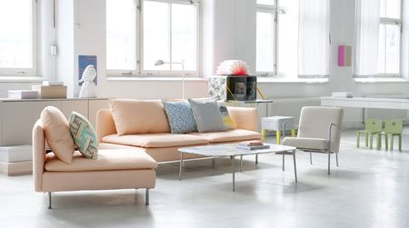 Bemz covers for Söderhamn sofa and seating module in Peach Panama Cotton and PS chair in Sand Beige Panama Cotton