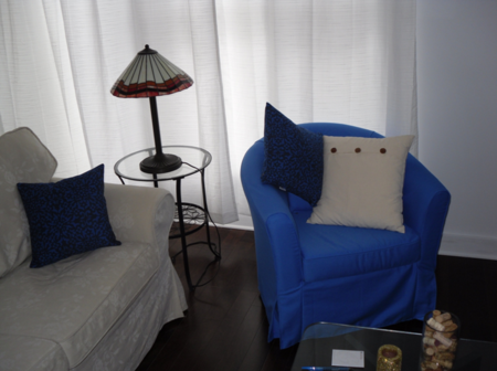 Tullsta armchair in True Blue Panama Cotton from Bemz, with cushion covers from Bemz