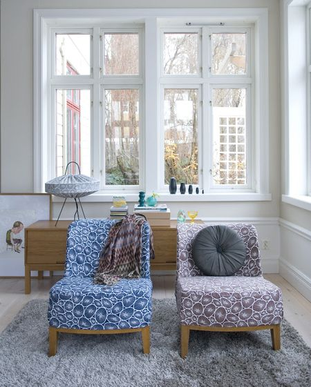 Bemz cover for Stockholm Easy chair in Blue on White Korall, Brown on White Korall, design Bantie