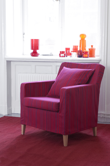 Karlstad armchair in a Static Stripe Fuchsia Panama Cotton cover from Bemz