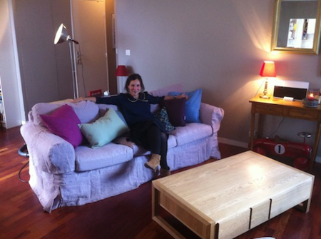 Mathilde sitting pretty on her revamped Ektorp sofa