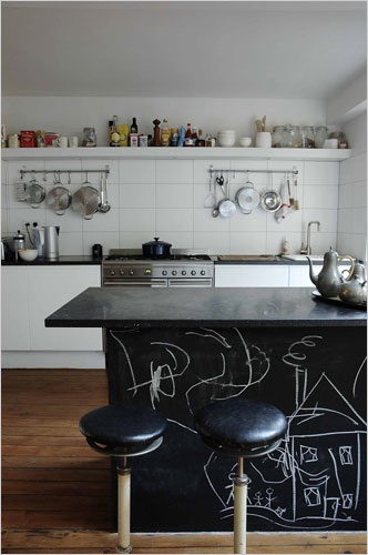 Chalkboard-paint-kitchen-counter-island-The Style Files