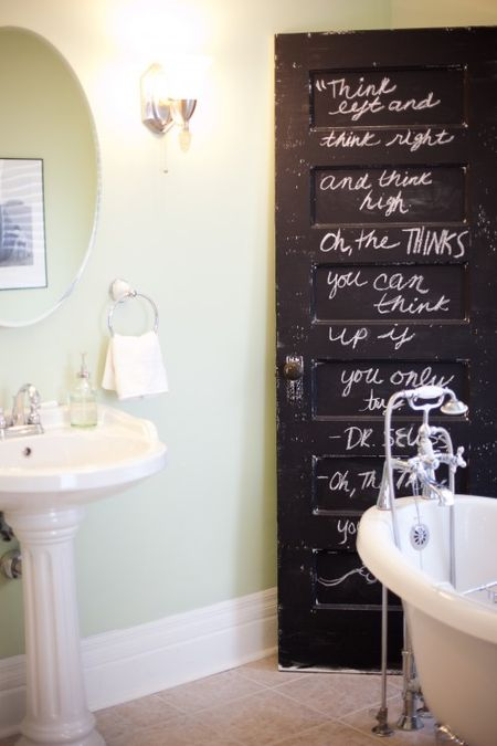 Blackboard bathroom door via The Shelterness