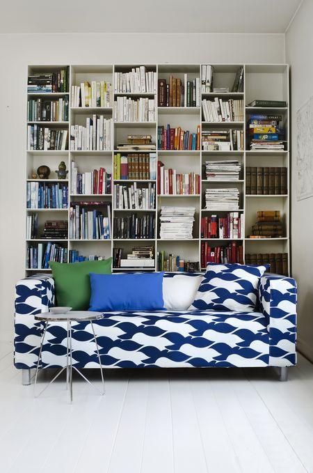 Bemz cover for Klippan sofa, fabric: Birds, design Strömma, from Bemz
