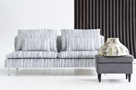 Bemz cover for Söderhamn sofa, fabric: Japan White, design Göta Trägårdh, from Bemz