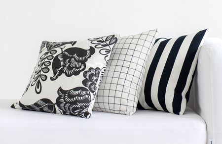 Bemz cushion covers in Black Stockholm Stripe, Black Classic Ruta, Black&White Coconut Grove