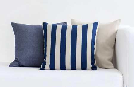 Bemz cushion covers in Unbleached Belgian Linen, Deep Navy Blue&Sand Beige Stockholm Stripe, Dark Denim Blue Piper Twill