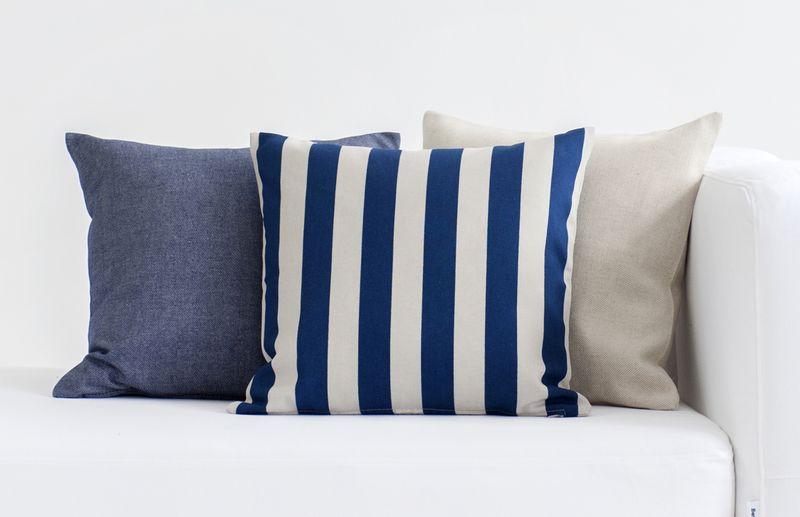 Bemz cushion covers in Unbleached Belgian Linen, Deep Navy Blue&Sand Beige Stockholm Stripe, Dark Denim Blue Piper Twill