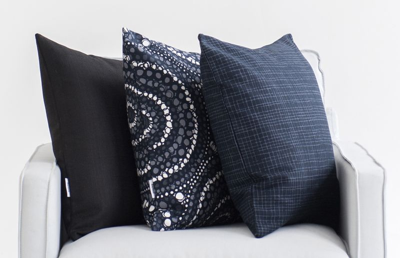 Bemz cushion covers in Jet Black Raffia, Graphite Grey Josephine, Graphite Grey Woven Whimsy