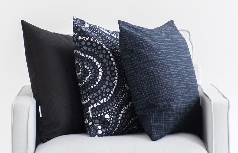 Bemz cushion covers in Jet Black Raffia, Graphite Grey Josephine, Graphite Grey Woven Whimsy