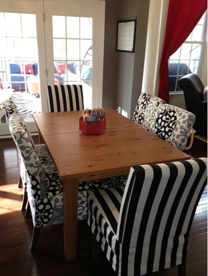 Henriksdal chairs in Black Stockholm Stripe and Grey/Black Kirsikka, design Marimekko, for the Bemz Designer Collection