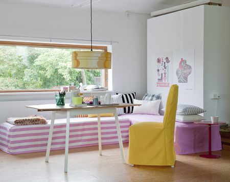 Bemz Daybed covers in Candy Pink & Absolute White Stockholm Stripe and Candy Pink Panama Cotton, with a mix of Bemz cushion covers and Bemz cover for Henrikdal chair long in Sun Yellow