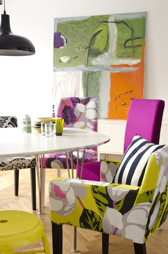 Bemz covers for Nils armchair in Lemongrass Flamingo Park,  Nils chair in Black&White Coconut Grove, Henriksdal chair in Fuchsia Flamingo Park, design Designers Guild, and Henriksdal chair in Fuchsia Panama Cotton