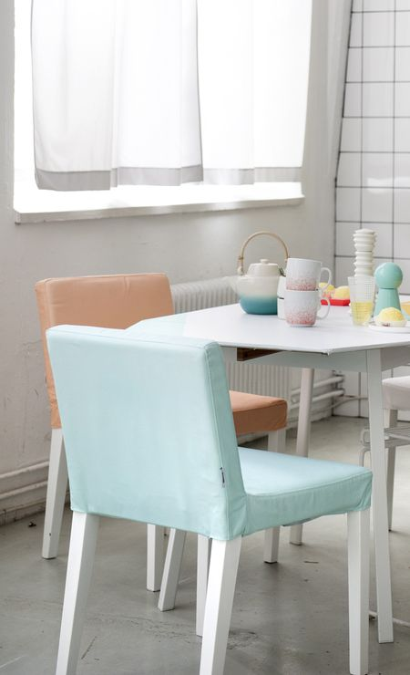 Bemz covers for Nils chair in Peach and Aqua Panama Cotton