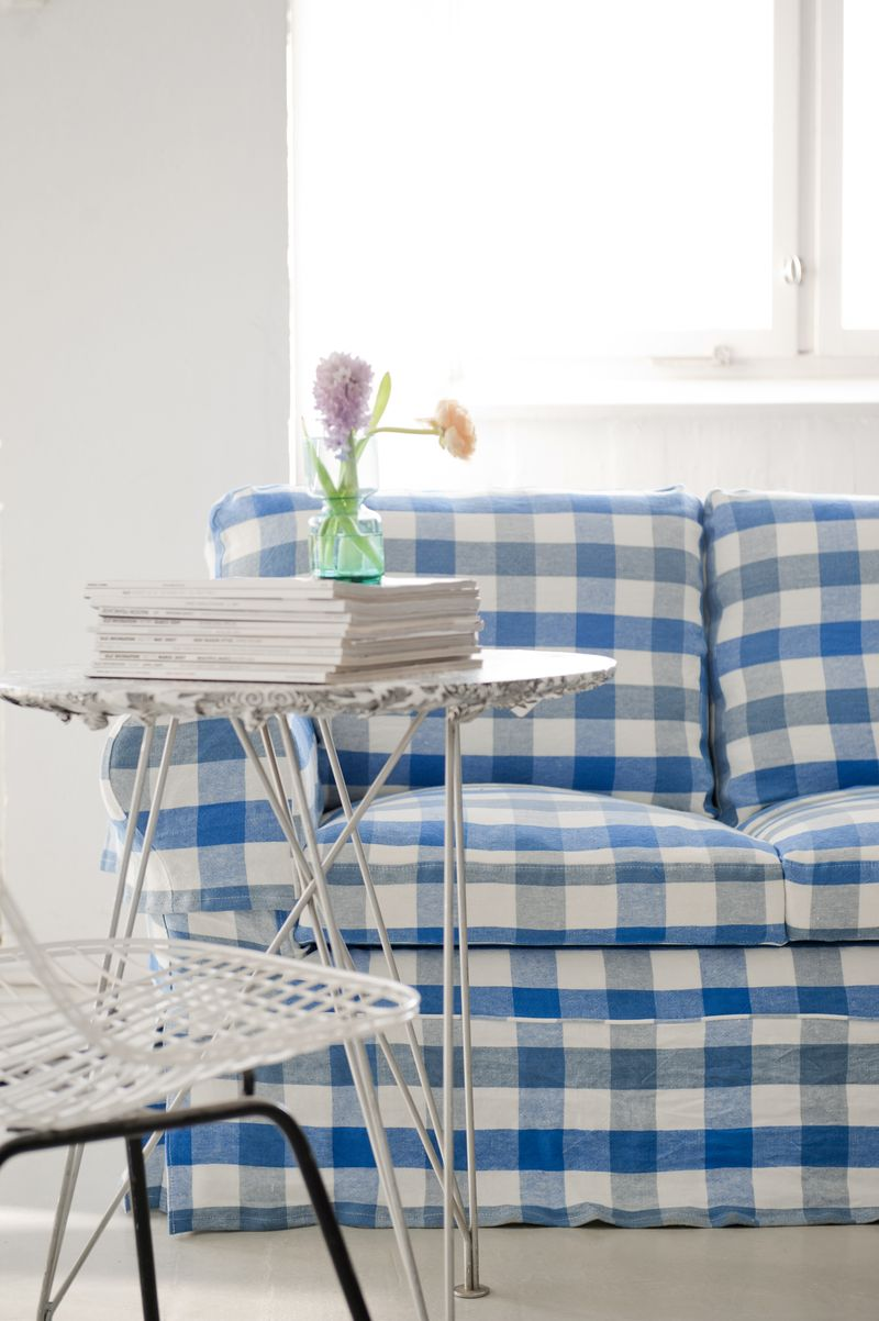 Bemz cover for Ektorp sofa, Loose Fit Country style, in Cobalt Brera Quadretto, design Designers Guild