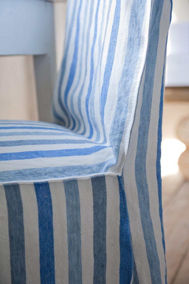 Bemz cover for Henriksdal chair, long, in Cobalt Brera Rigato, design Designers Guild