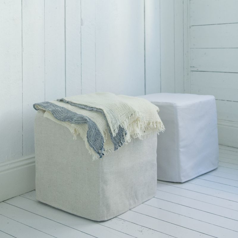 Bemz cover for Pällbo stool in Unbleached Belgian Linen, Soft White Panama Cotton