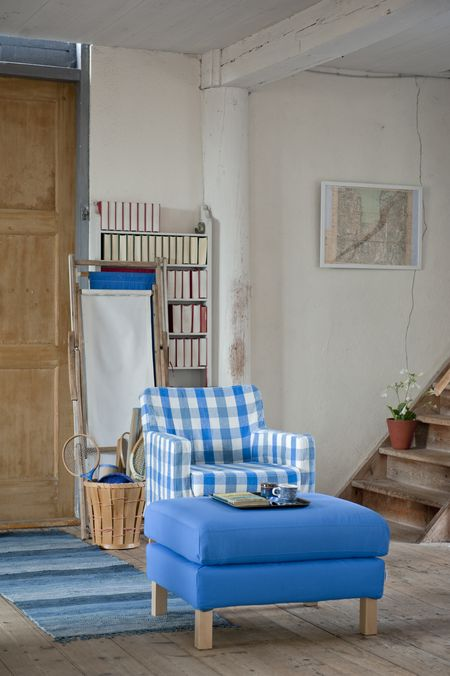 Bemz cover for Karlstad armchair small, Loose Fit Urban style, in Cobalt Brera Quadretto and Bemz cover for Karlstad footstool in True Blue Panama Cotton