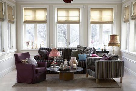 Bemz cover for Ekeskog sofa in Sage brown&Black Stockholm Stripe, Bemz cover for Karlanda armchair in Moss Green Prisma Stripe, Bemz cover for Jennylund armchair in Aubergine