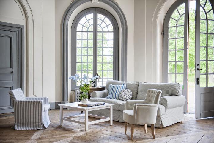 Ekeskog sofa cover in Sandhamn Stripe Blue&White and assorted cushion covers from Bemz