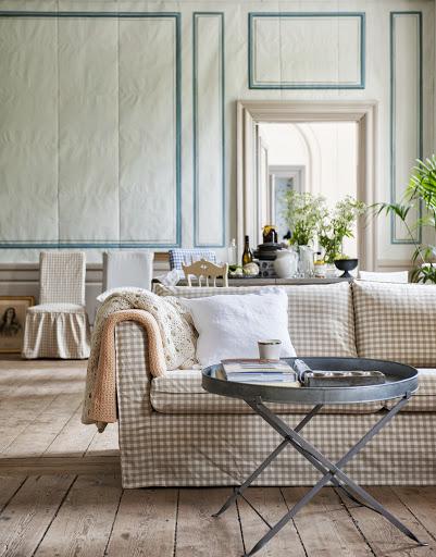Bemz cover for Karlstad sofa, Loose fit Urban, in Vreta Gingham Check Beige&White