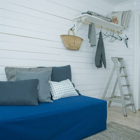 Bemz daybed cover in Deep Navy Blue Belgian Linen Blend, Bemz cushion covers in Zinc Grey, Charcoal Grey Sybary, Black Classic Ruta and Graphite Grey Belgian Linen Blend