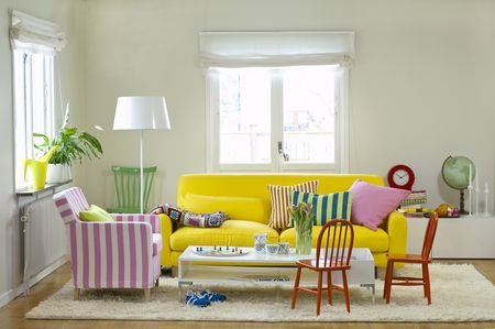 Bemz covers for Nikkala sofa in Sun Yellow Panama Cotton and  Karlstad armchair in Candy Pink/Absolute White Stockholm Stripe