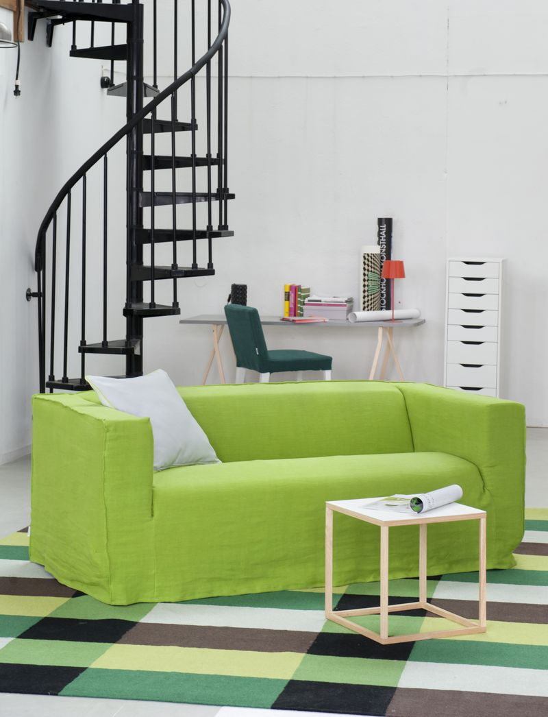 Bemz cover for Klippan sofa, Loose fit Urban style, in Leaf Brera Lino