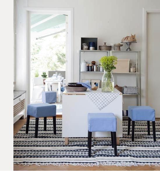 Nils stool cover in Light Denim Blue Belgian Linen Blend from Bemz.