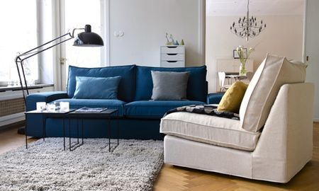 Show me your sofa Kivik in Teal Blue Panama Cotton