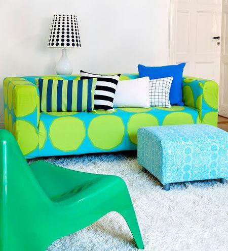 Bemz cover for Klippan sofa, fabric: Turquoise/Lime Kivet, design Marimekko. Bemz cover for Klippan footstool, fabric: Aqua Praliini, design Marimekko.