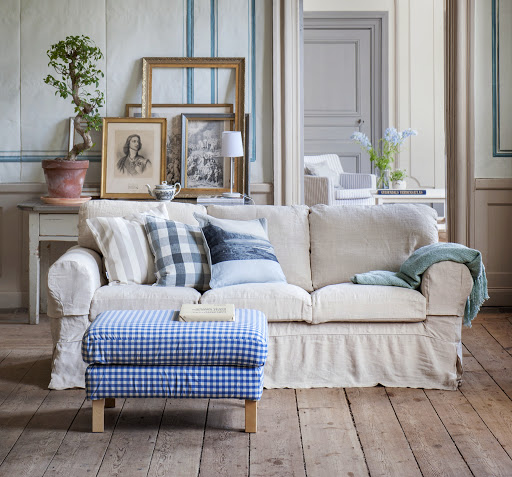 Karlstad footstool cover in Vreta Gingham Blue&White