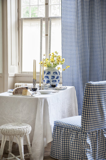 Henriksdal chair cover, Loose Fit Country, in Vreta Gingham Check Blue&White, Curtains in Vreta Ginghamn Check Blue&White