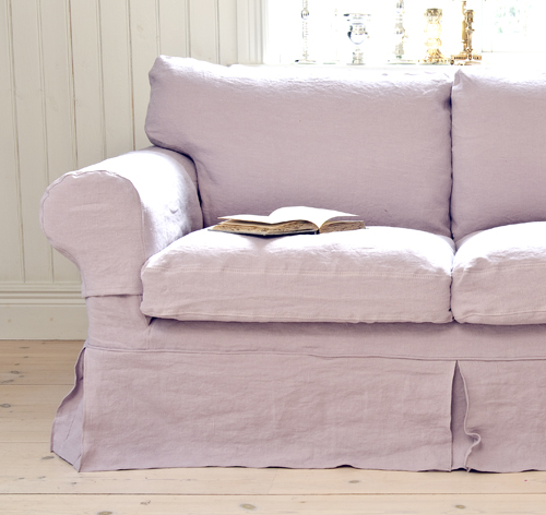 Bemz cover for Ektorp 2 seater sofa, Loose Fit Country style, in Lavender Rosendal Pure Washed Linen