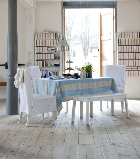 Bemz cover for Henriksdal chair medium long, Loose Fit, in Absolute White Rosendal Pure Washed Linen