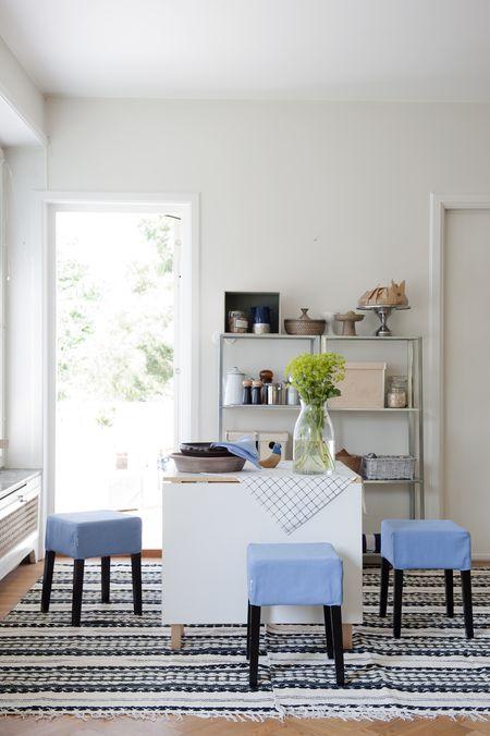 Bemz covers for Nils stools in Light Denim Blue Belgian Linen Blend
