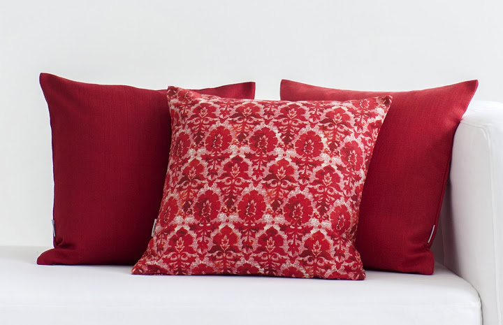 Bemz cushion covers in Crimson Red Raffia, Real Red Tegnér Melange, Real Red Urban Tapestry