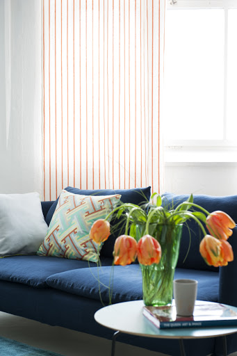 Bemz curtains in Saffron Brera Lino, design Designers Guild and Bemz cove for sofa