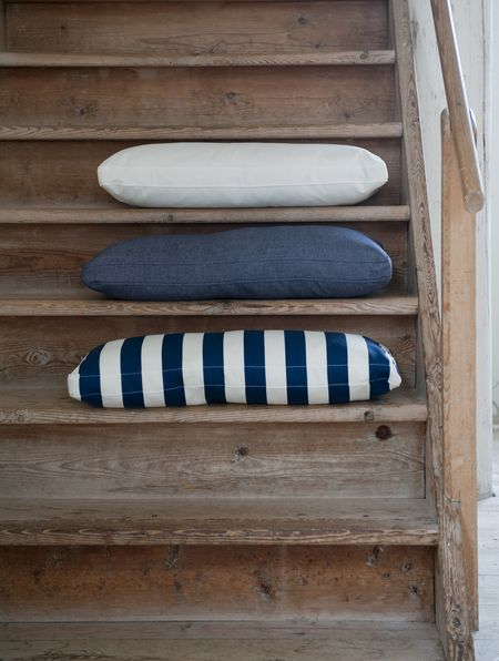 Bemz cushion covers in Soft White Panama Cotton, Dark Denim Blue Piper Twill, Deep Navy Blue Stockholm Stripe