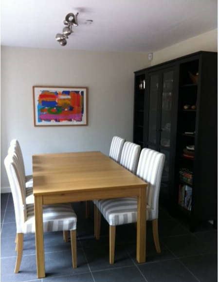 Testimonial July 5 Henriksdal Chairs in Sand Beige Stockholm Stripe covers from Bemz