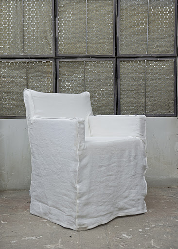 Bemz cover for Nils armchair, Loose Fit Urban style, in Absolute White Rosendal Pure Washed Linen