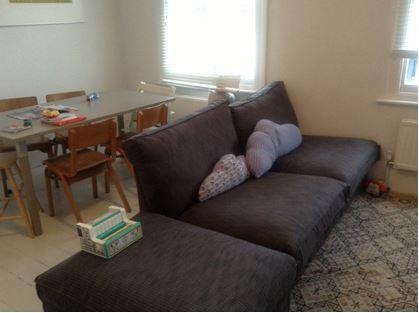 Kivik sofa and footstool in Sybary Charcoal Grey