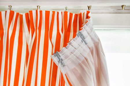 Heading Tape Curtain in Mandarin Orange Gotland Stripe