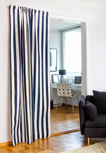Rod Pocket Curtain in Jet Black Stockholm Stripe, Söderhamn sofa in Brera Lino Noir by Designers Guild