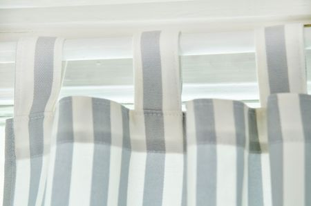 Tab Top curtain in Silver Grey Gotland Stripe