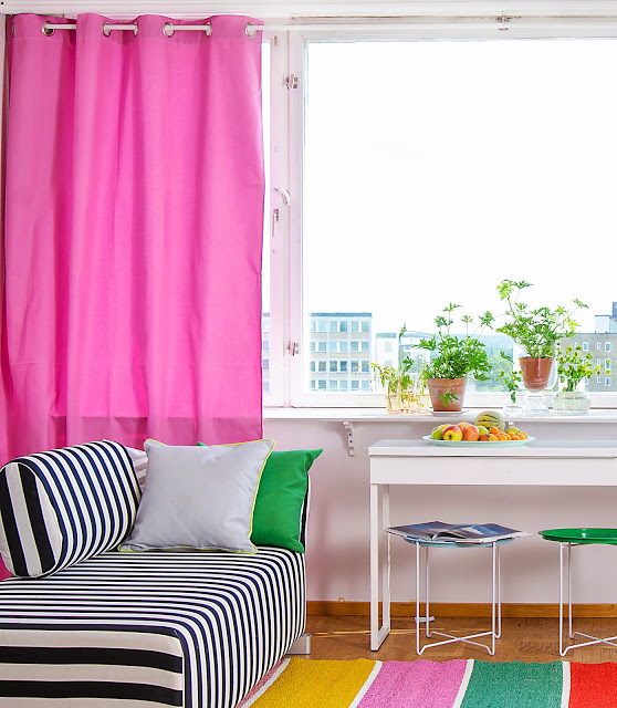 Bemz Eyelet curtain in Candy Pink Panama Cotton, Mysinge  sofa in Stockholm Stripe Jet Black and a selection of Bemz cushion covers