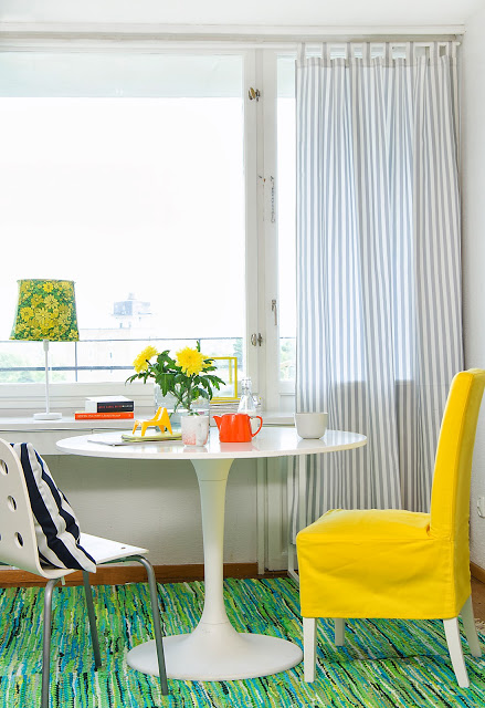 Tab Top curtain in Silver Grey Gotland Stripe, Henriksdal chair cover in medium skirt in Sun Yellow Panama Cotton, Cushion cover in Stockholm Stripe Jet Black all from Bemz